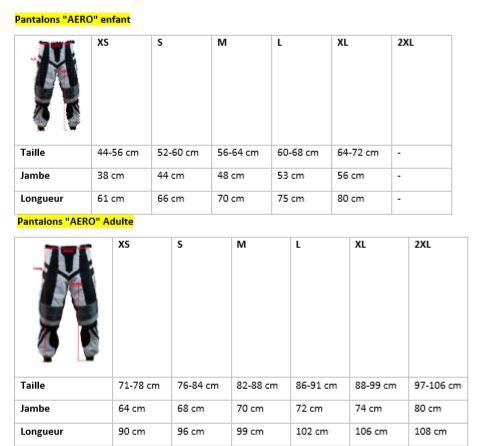 Guide des tailles de pantalon Crosskinggear